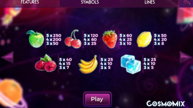 Cosmomix :: Paytable