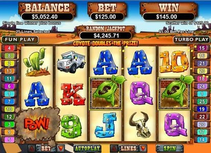Play slots at Uptown Aces: Uptown Aces featuring the Video Slots Coyote Cash with a maximum payout of $250,000
