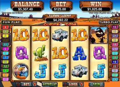 Palace of Chance featuring the Video Slots Coyote Cash with a maximum payout of $250,000