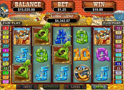 Plenty Jackpots featuring the Video Slots Coyote Cash with a maximum payout of $250,000