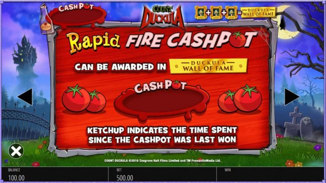 Rapid Fire Cashpot can be awarded in Duckula Wall of Fame