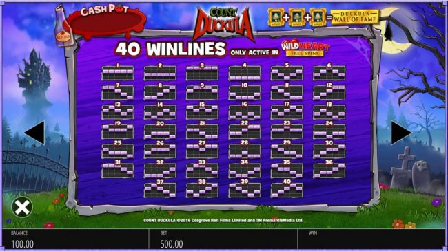 Wild Heart Free Spins Payline Diagrams 1-40