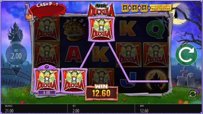 Reel Vegas featuring the Video Slots Count Duckula with a maximum payout of $12,500
