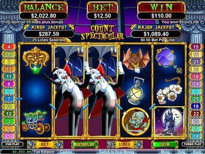 Uptown Aces featuring the Video Slots Count Spectacular with a maximum payout of $250,000