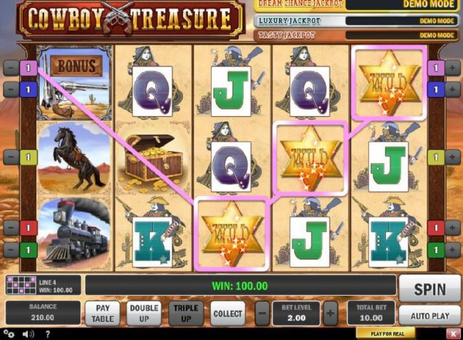 Wild Slots featuring the Video Slots Cowboy Treasure with a maximum payout of $50,000