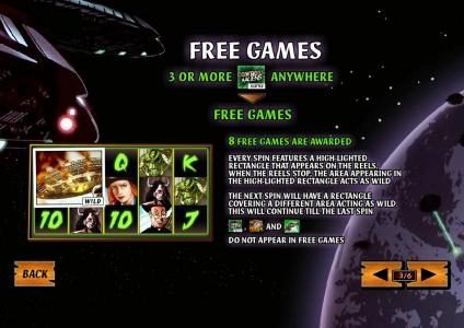 3 or more scatters anywhere triggers 8 free games