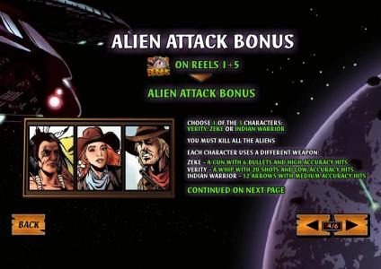 bonus on reels 1 and 5 triggers alien attack feature