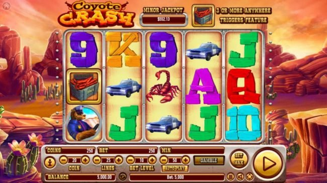 Win Paradise featuring the Video Slots Coyote Crash with a maximum payout of $2,500,000