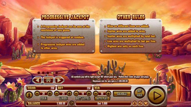 Coyote Crash :: Progressive Jackpot Rules and General Game Rules