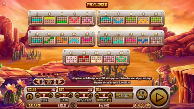 Coyote Crash :: Payline Diagrams 1-25. All symbols pay left to right except TNT scatter which pays any. Maximum win for any spin is 2,500,000.00