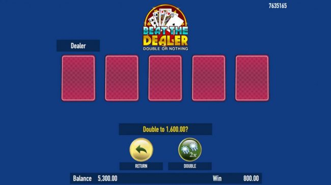 Coyote Crash :: Beat The Dealer - Double or Nothing Gamble Feature Game Board - Select a card that is higher than the dealers for a chance to double your winnings.