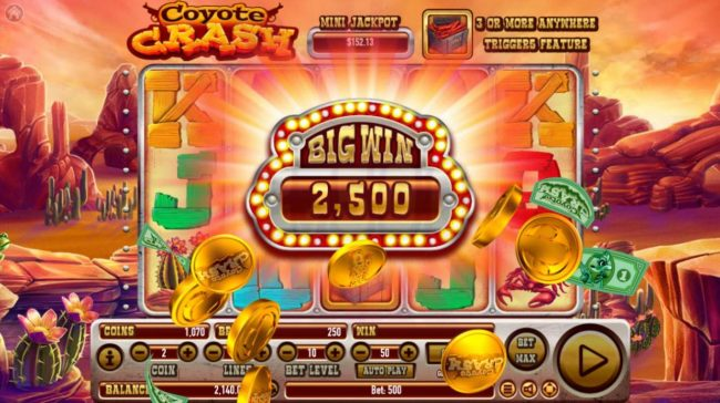 Lucky Dino featuring the Video Slots Coyote Crash with a maximum payout of $2,500,000