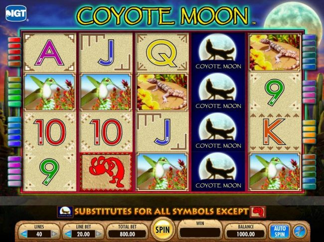 Casumo featuring the Video Slots Coyote Moon with a maximum payout of $50,000