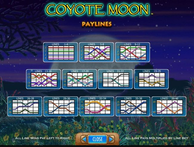 Sky Vegas featuring the Video Slots Coyote Moon with a maximum payout of $50,000