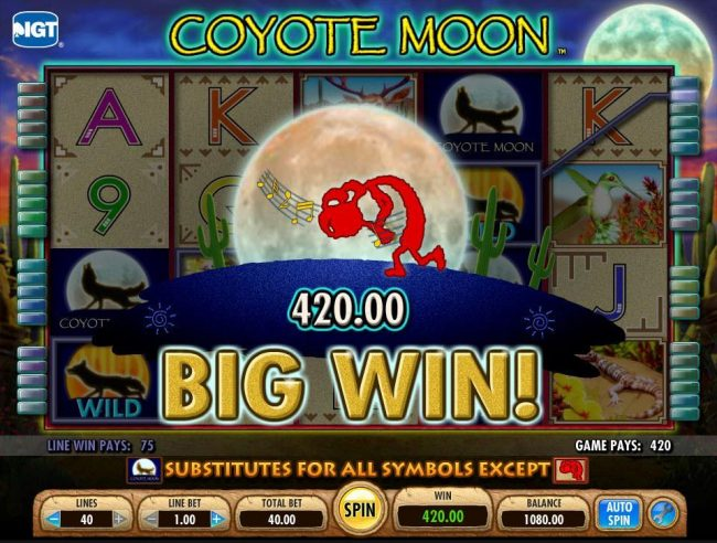 Zinger Spins featuring the Video Slots Coyote Moon with a maximum payout of $50,000