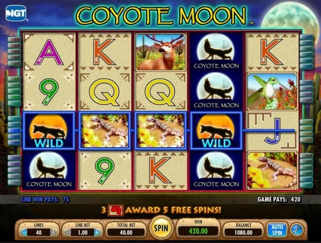 Jetbull featuring the Video Slots Coyote Moon with a maximum payout of $50,000