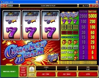 Play slots at Slotty Vegas: Slotty Vegas featuring the Video Slots Cracker Jack with a maximum payout of $225,000