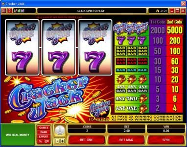 Go Wild featuring the Video Slots Cracker Jack with a maximum payout of $225,000