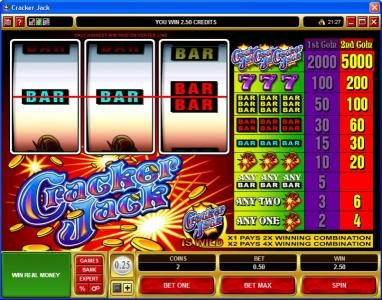 Play slots at Yukon Gold: Yukon Gold featuring the Video Slots Cracker Jack with a maximum payout of $225,000