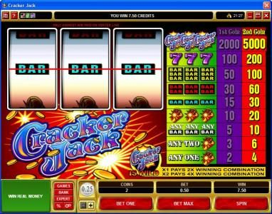 EU Casino featuring the Video Slots Cracker Jack with a maximum payout of $225,000