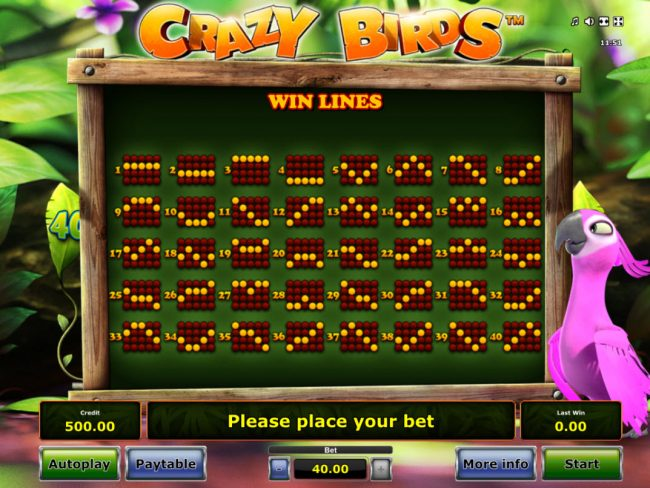 Pamper featuring the Video Slots Crazy Birds with a maximum payout of $40,000