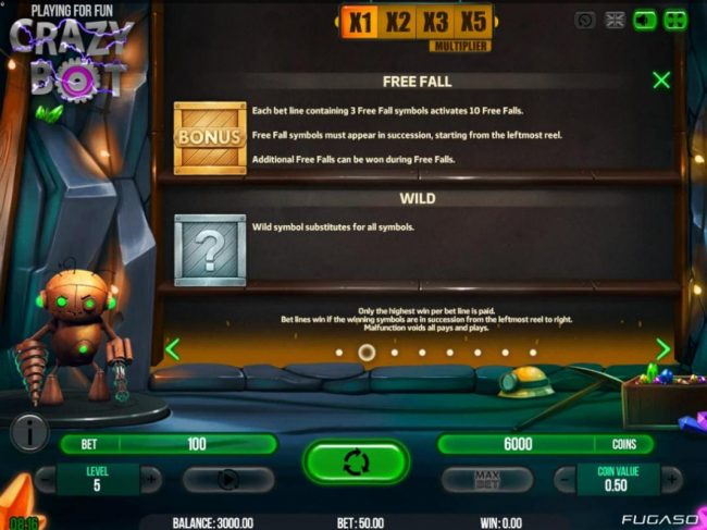 Jellybean Casino featuring the Video Slots Crazy Bot with a maximum payout of $50,000