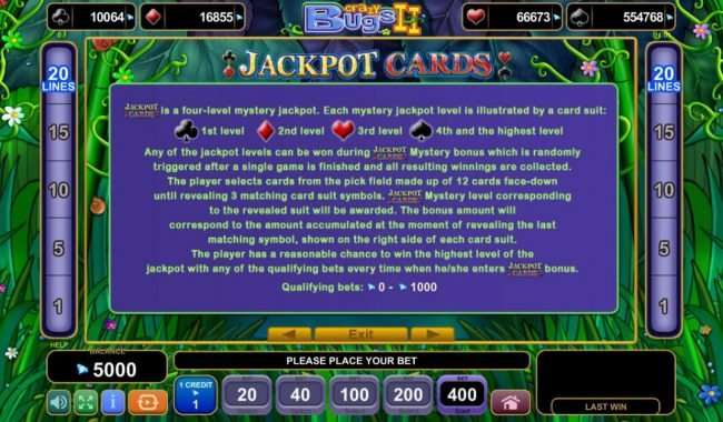 Crazy Bugs II :: Jackpot Cards Rules