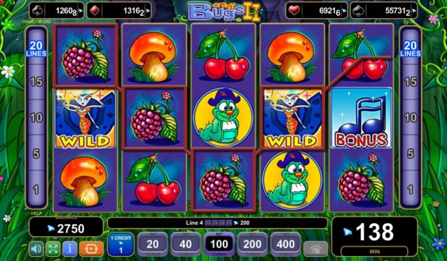 Crazy Bugs II :: Multiple winning paylines
