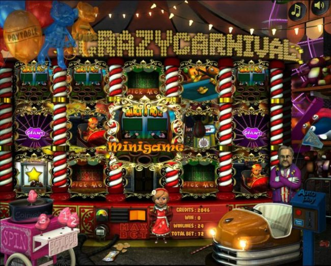 Elegant VIP featuring the Video Slots Crazy Carnival with a maximum payout of $12,000