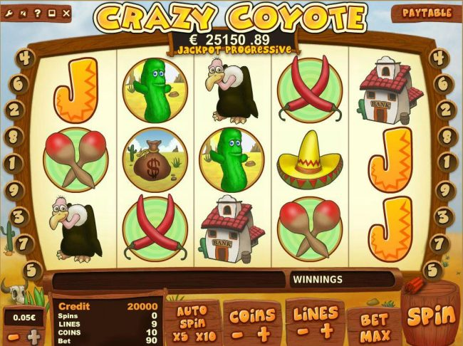 Play slots at Joe Fortune: Joe Fortune featuring the Video Slots Crazy Coyote with a maximum payout of Jackpot