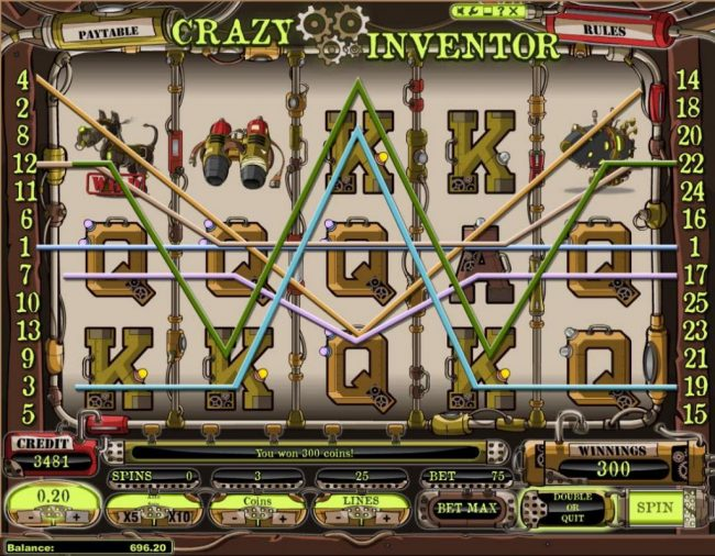 Tangiers featuring the Video Slots Crazy Inventor with a maximum payout of $250,000