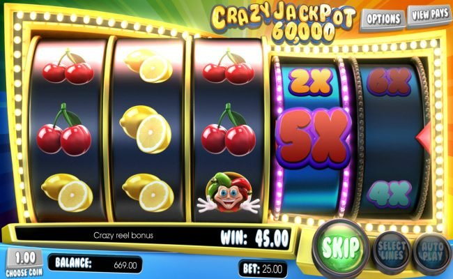 Lock featuring the Video Slots Crazy Jackpot 60,000 with a maximum payout of $60,000