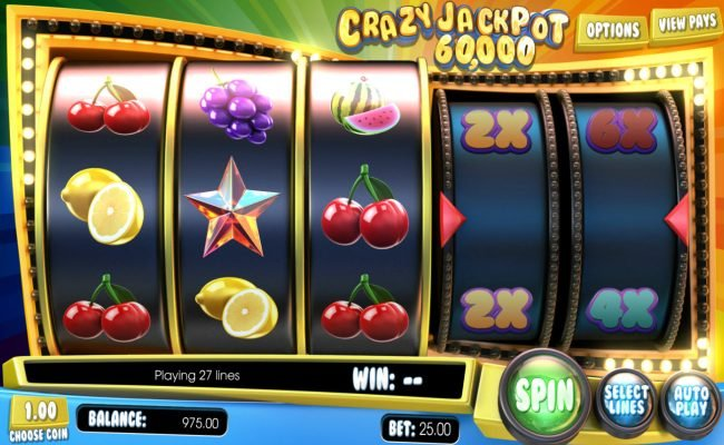 7Kasino featuring the Video Slots Crazy Jackpot 60,000 with a maximum payout of $60,000