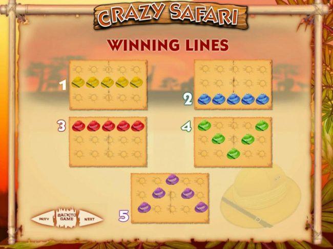 Crazy Safari :: Payline Diagrams 1-5