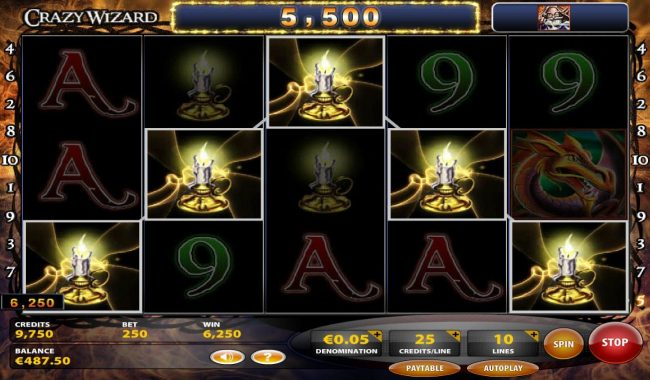A candlestick winning five of a kind triggers a 5,500 line pay.