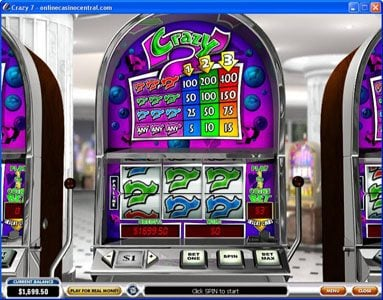 City Club Casino featuring the Video Slots Crazy 7 with a maximum payout of $6,000