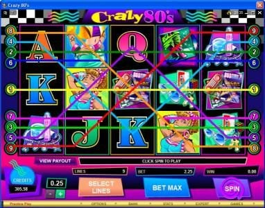 Rich Reels featuring the Video Slots Crazy 80s with a maximum payout of $25,000
