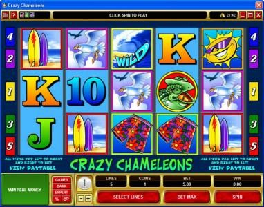 Play slots at Casino Kingdom: Casino Kingdom featuring the Video Slots Crazy Chameleons with a maximum payout of $25,000