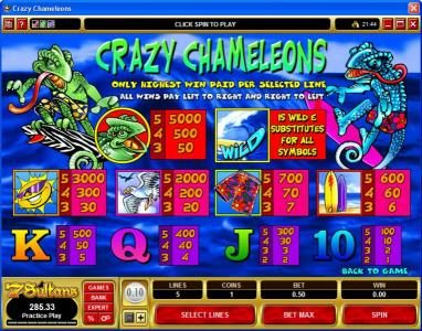Lucky Nugget featuring the Video Slots Crazy Chameleons with a maximum payout of $25,000
