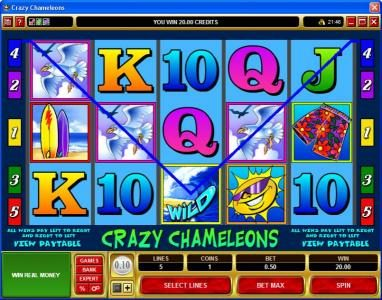 CasinoUK featuring the Video Slots Crazy Chameleons with a maximum payout of $25,000