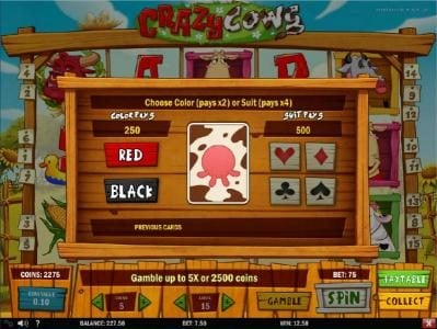 Jellybean Casino featuring the Video Slots Crazy Cows with a maximum payout of $625