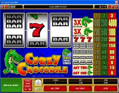 Play slots at Casino Share: Casino Share featuring the Video Slots Crazy Crocodile with a maximum payout of $60,000