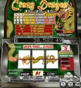 Ruby Slots featuring the Video Slots Crazy Dragon with a maximum payout of Jackpot