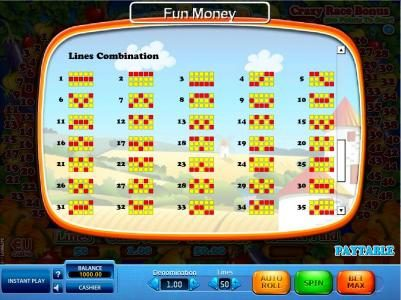 Win 7 featuring the Video Slots Crazy Farm Race with a maximum payout of $18,000
