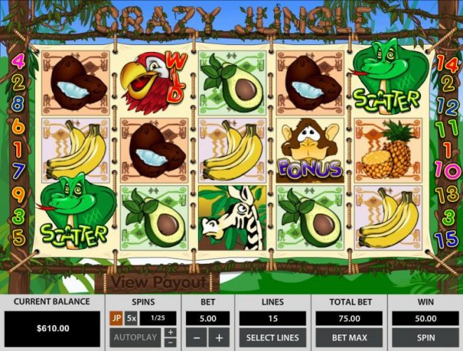 Winward featuring the Video Slots Crazy Jungle with a maximum payout of $45,000