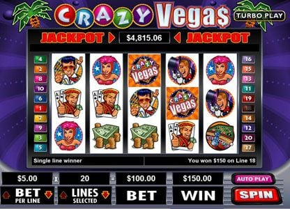 Planet 7 featuring the Video Slots Crazy Vegas with a maximum payout of $250,000