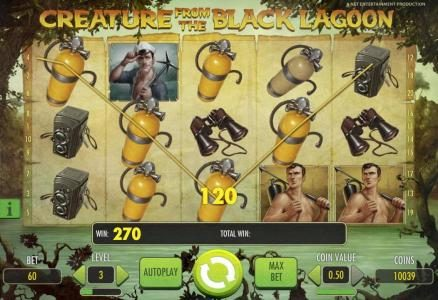 Winzino featuring the Video Slots Creature from the Black Lagoon with a maximum payout of $3,750