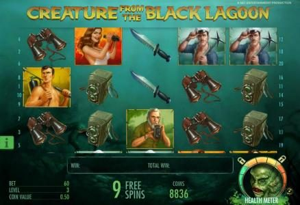 Pamper featuring the Video Slots Creature from the Black Lagoon with a maximum payout of $3,750