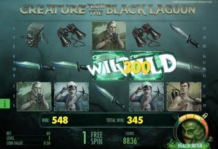 Spinzilla featuring the Video Slots Creature from the Black Lagoon with a maximum payout of $3,750