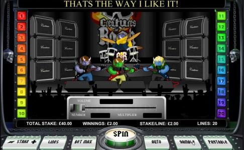 770Red featuring the Video Slots Creatures of Rock with a maximum payout of $20,000
